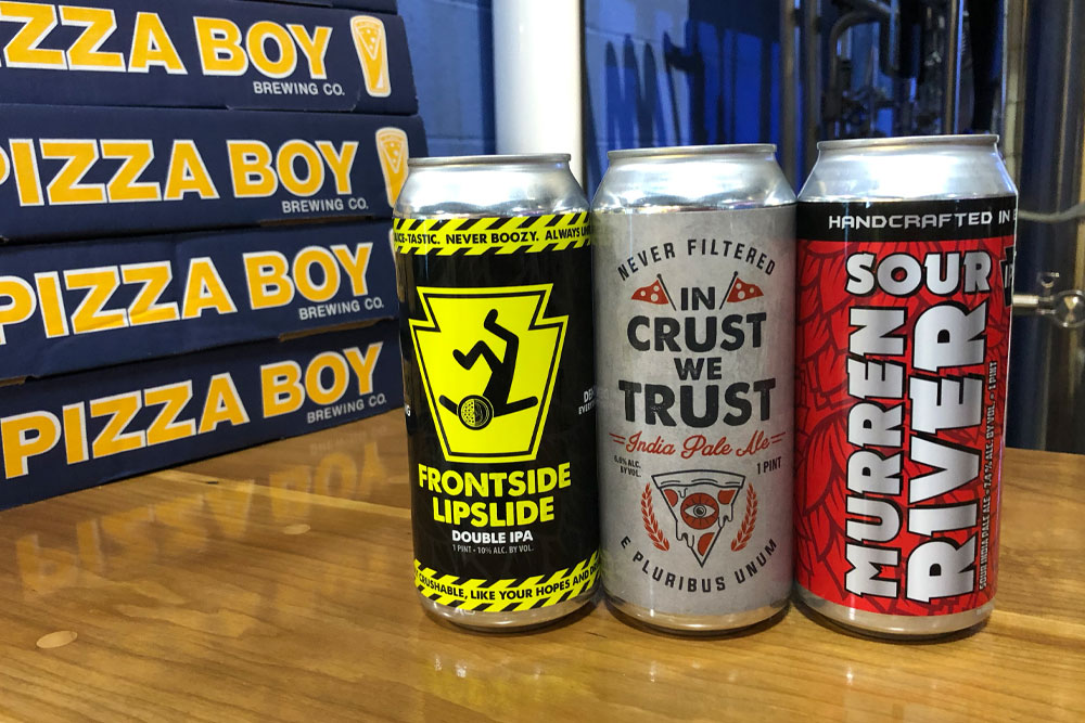 Pizza Boy cans by Hop Hedz Gear